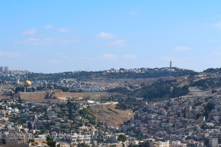 Picture of the temple mount from a south view.  You may have to click to see the larger image, but from left to right you can see the Temple Mount, with the Old City Walls below it, the Kidron Valley, and then the Mount of Olives (green clump of trees on the right).  This shot was from June 14th, on a field trip/break day from the dig.