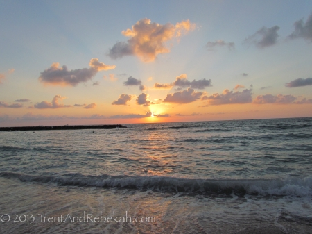 Sunset on the ancient seaport beach of Ashkelon.