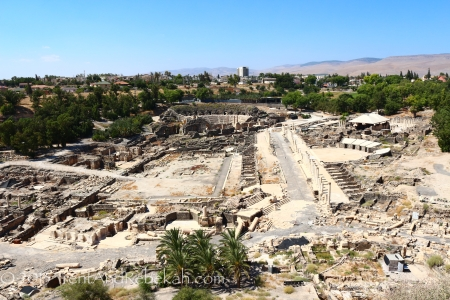 View from the tel at Bet She'an, looking down at mostly Hellenistic and Roman ruins