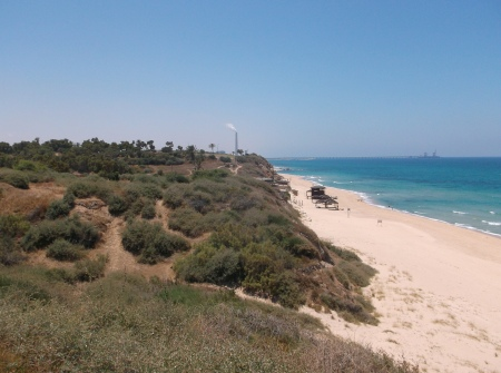 View south from Tel Ashkelon, along the beach.